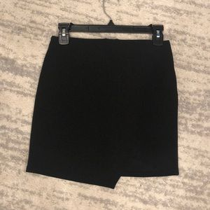 Asymmetrical Black Mini Skirt